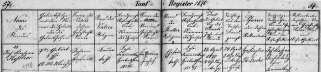 Baptism record from 1870